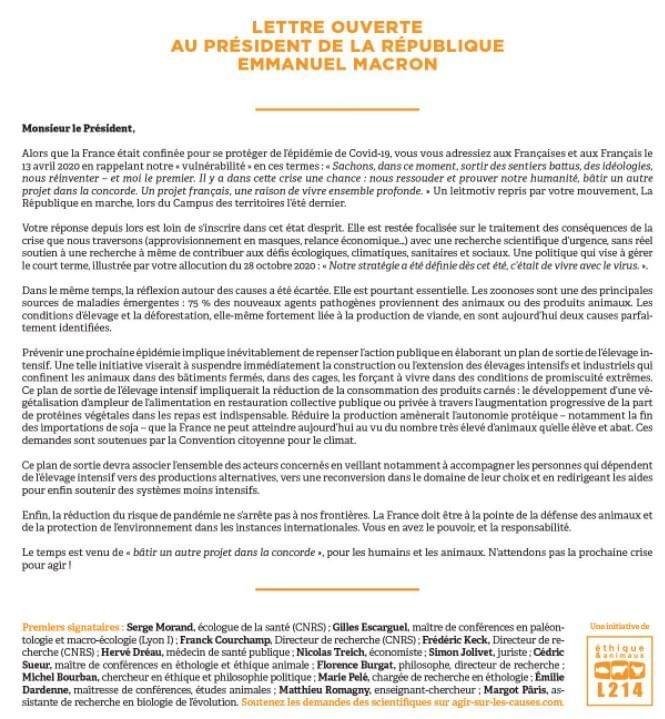 @EmmanuelMacron @L214 #Pandemie #VirusCorona #Elevage #zoonoses