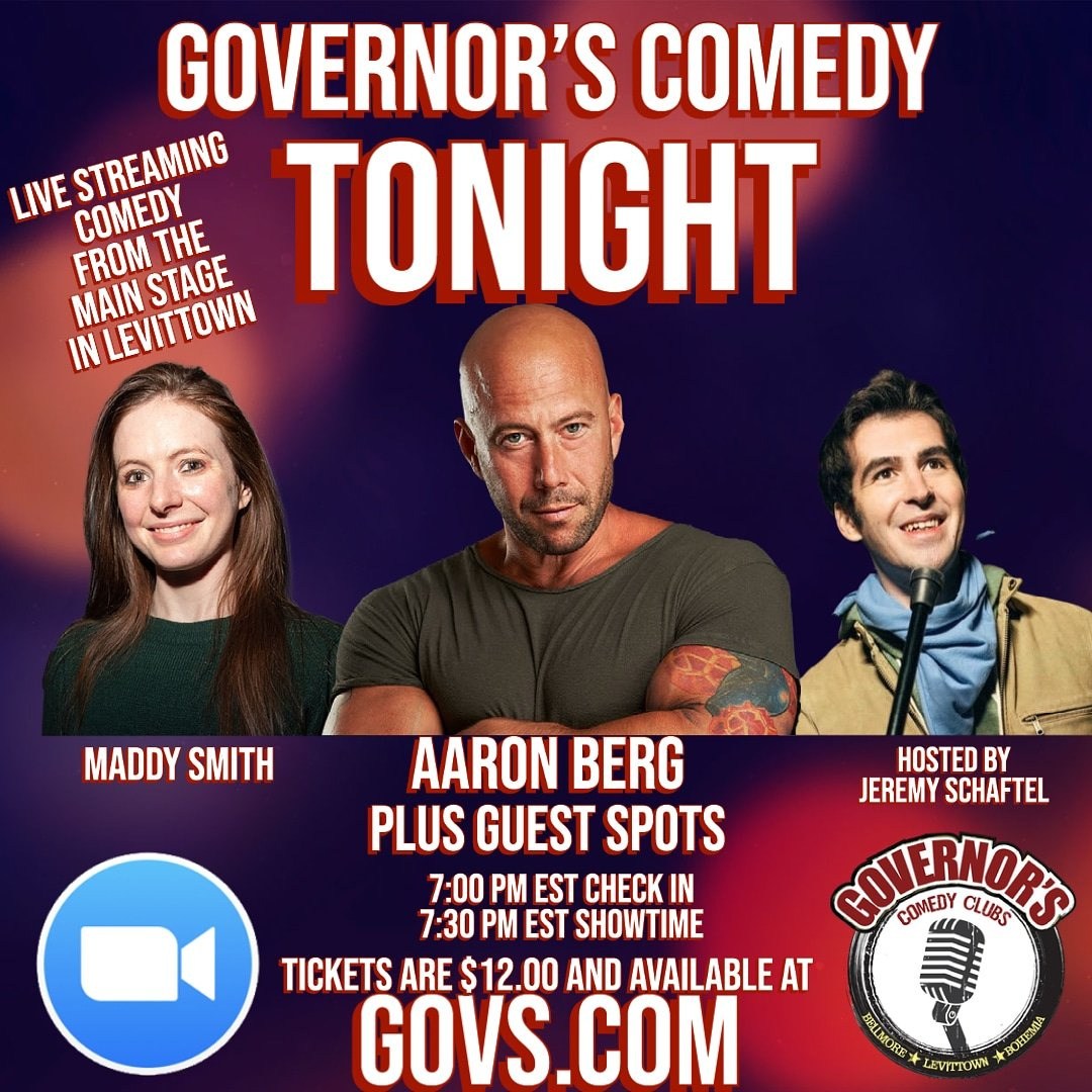 It's going down #TONIGHT !  Tickets at   LIVE STREAMING comedy straight from the stage in Levittown! @aaronbergcomedy @somaddysmith @JeremySchaftel and much more!
