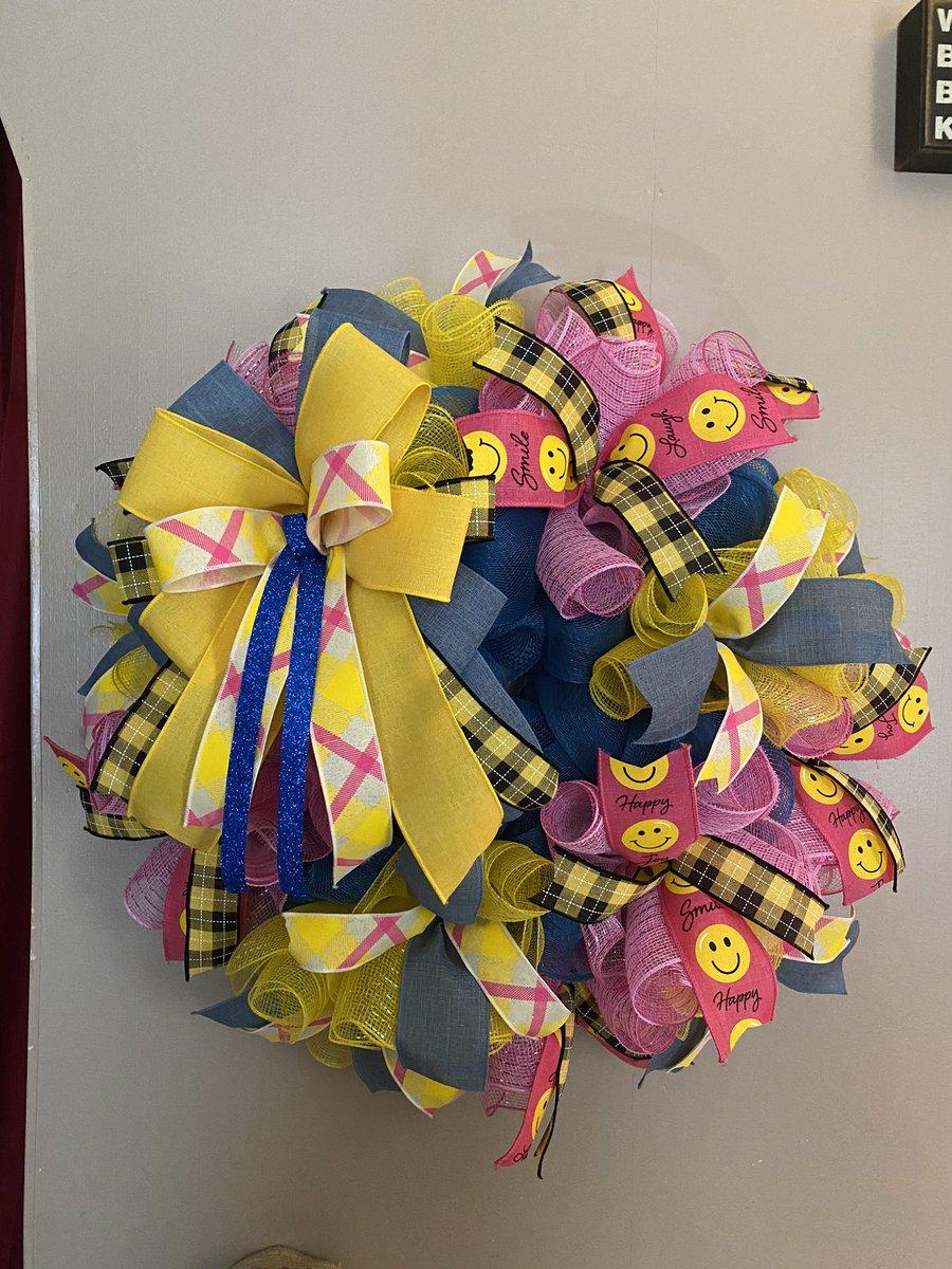#Wreath #Blue #Yellow #Pink #Smile #Bow #Ribbon #Black