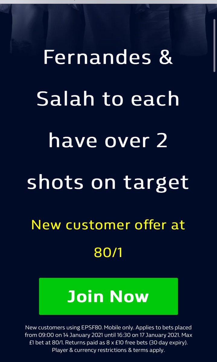 🚨 HUGE ENHANCED ODDS ⚽️  Get 80/1 for Bruno Fernandes and Mo Salah both to have 2 or more shots on target! 🥅💥#LIVMUN #LFC #MUFC   Claim via the link below ↙️ 📲  18+   #Ad   New Customer Offer - Mobile Only   T&Cs  #Retweet #LiverpoolFC