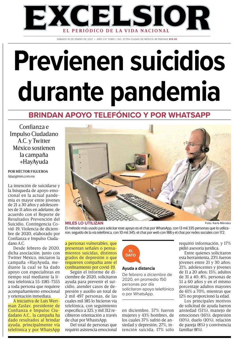 🗞️ Junto con @TwitterMexico, iniciaron la campaña #HayAyuda, mediante la cual se ha dado apoyo con especialistas en tiempo real mediante la línea telefónica 55-1185-7555 a toda persona que requiere acompañamiento emocional / Vía @Excelsior /