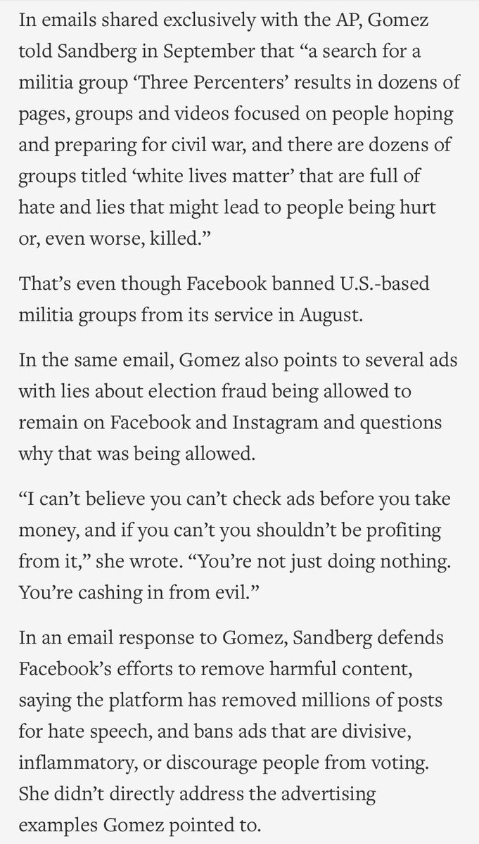 Selena Gomez emailed Sheryl Sandberg last year to take her to task about hate on Facebook, per @AP. apnews.com/article/race-a…