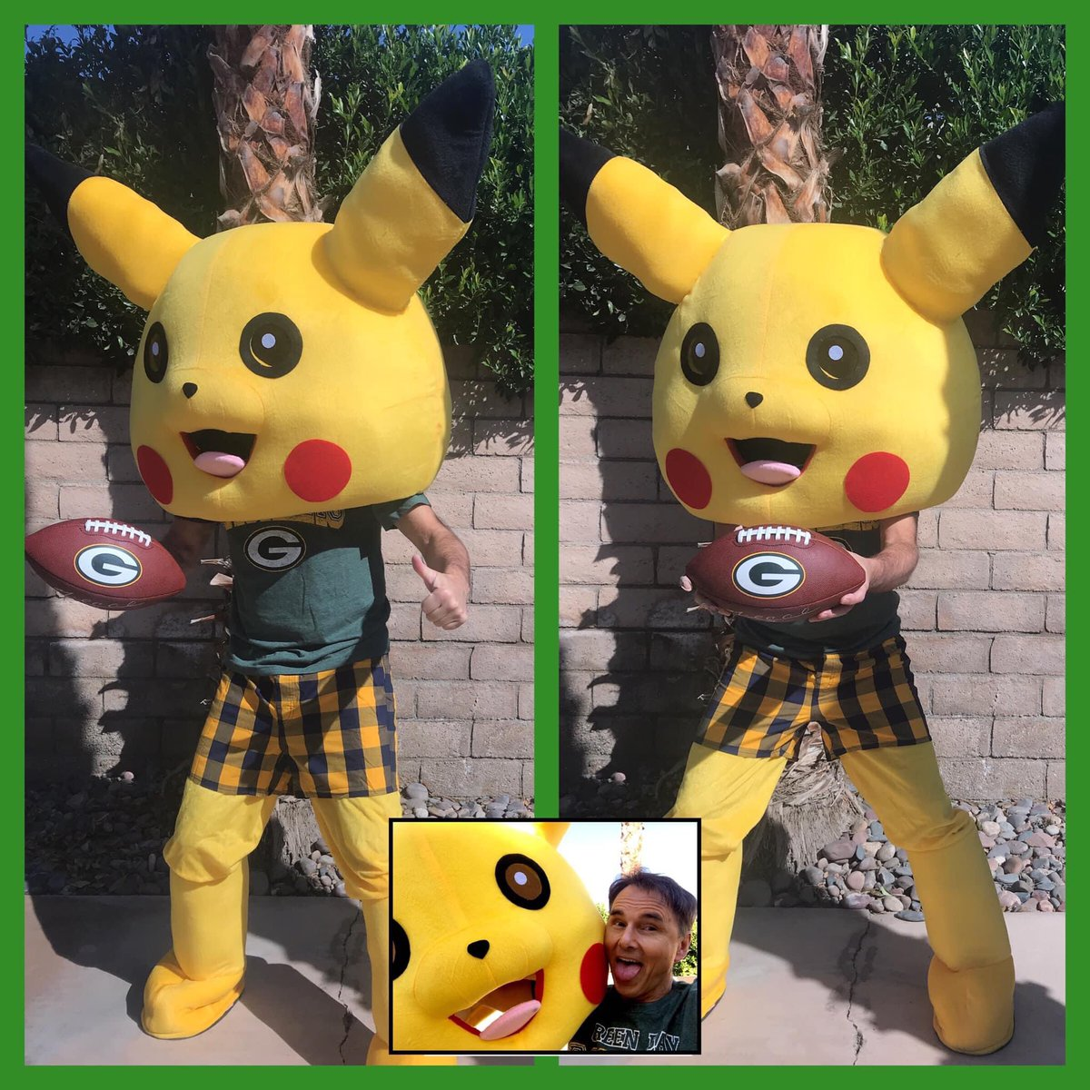 Packers! Playoffs! Packachu! Look who was in my backyard practicing the Packachu Polka before today's game vs the Rams. Cloudy, but warm with above-freezing weather at Lambeau. Green Bay temps will be hovering in the mid-30s! Perfect weather in Titletown! #GoPackGo! 💚💛🏈🍺🧀🐮