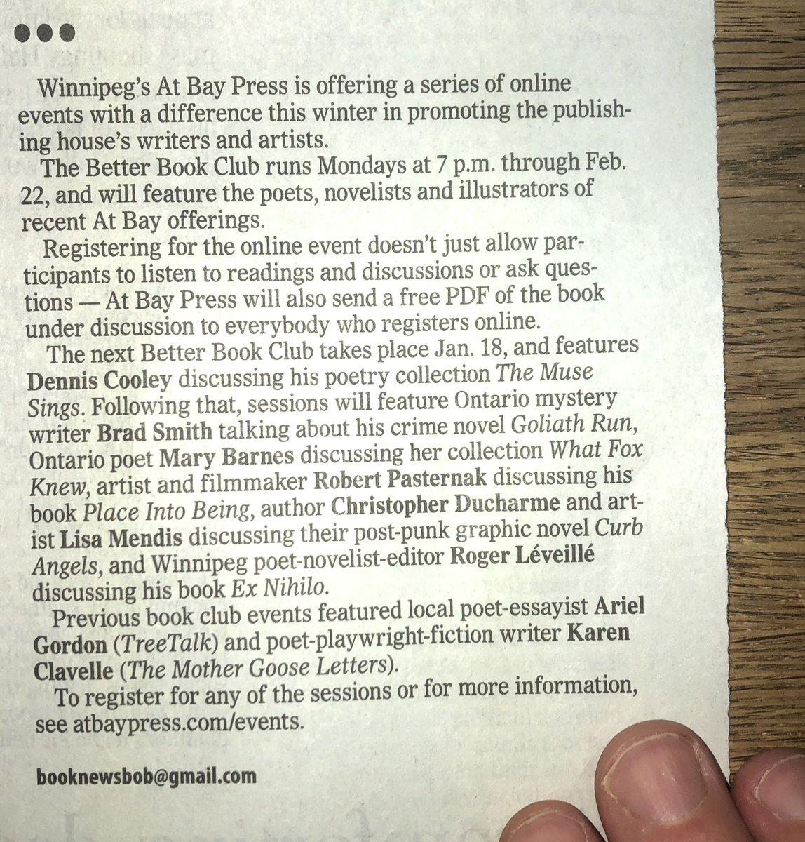 Great piece in the @WinnipegNews by @bobarmsnovelist about our @MBGov Safe at Home Better Book Club series: winnipegfreepress.com/arts-and-life/… Sign up for free: atbaypress.com/events Stay home. Stay Safe! @cathycox @mbartscouncil @CBCManitoba @BradJSmith2 @JaneDayReader @natkbaird