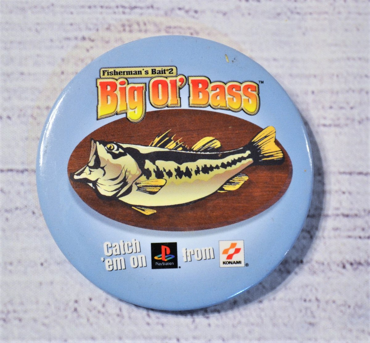 Excited to share the latest addition to my #etsy shop: Vintage Big Ol Bass Pinback Button Fishermans Bait Funny Advertising Promotional Collectible Pin PanchosPorch  #blue #panchosporch #shabbycottageboho #collectiblevtg #vintagehomedecor #pinpin
