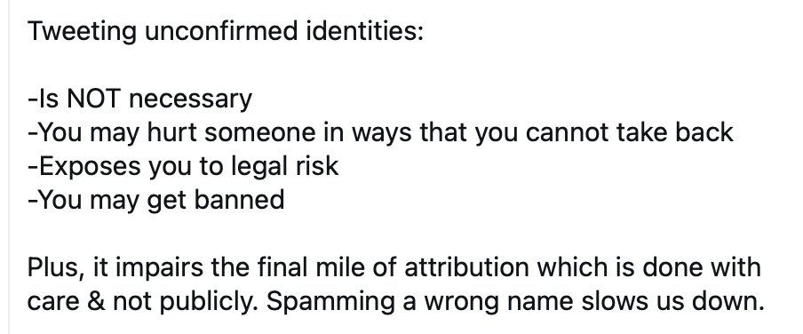 About to tweet an unconfirmed name? It may be well-meant, but it will cause harm. Don't do it.   See an unconfirmed name being circulated? Don't amplify. Consider gently sharing this message.  Feel that kind of certainty? @FBI has a form: