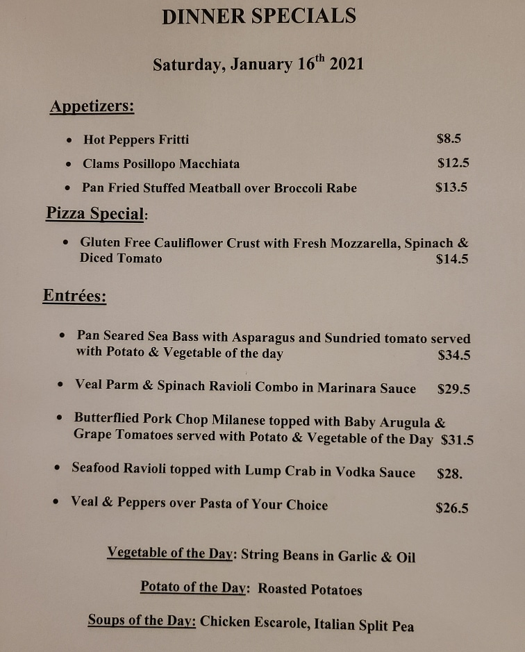 #Saturday dinner specials 😋  #local #localbusiness #supportlocal #weekend #weekendvibes #nj #newjersey #njrestaurant #southjersey #eht #doac https://t.co/ED5xYbz1Jz