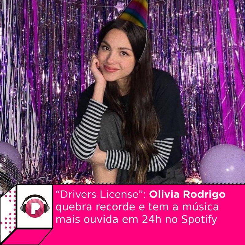É sucesso! #OliviaRodrigo quebra recorde e tem a música mais ouvida em 24h no Spotify: