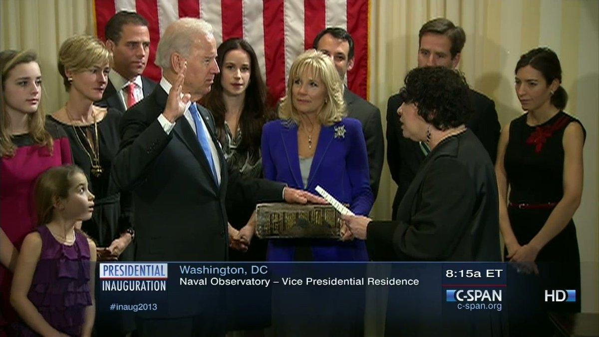 Joe Biden was sworn in as the 47th Vice President by Supreme Court Associate Justice Sonia Sotomayor, both on Sunday, Jan 20th at his official swearing-in at Vice Presidents residence in DC and the next day at US Capitol at the public 2013 presidential inauguration ceremonies.