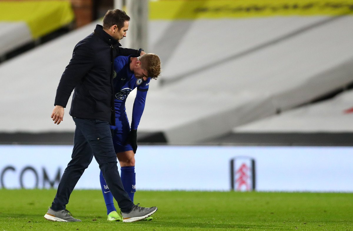 Frank Lampard with Timo Werner at full-time.   #FULCHE | #CFC | @ChelseaFC