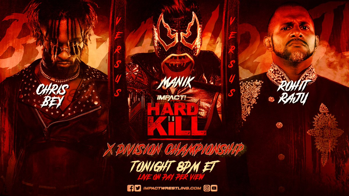 Can Manik survive with @DashingChrisBey and @HakimZane coming for the X-Division Championship TONIGHT at #HardToKill? ORDER HERE: impac.tw/HardToKill