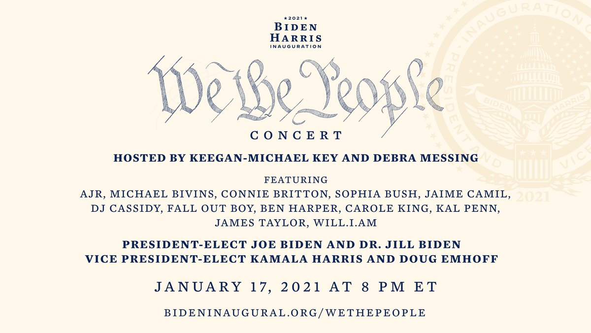 "It will be an honor to perform at the 2021 Biden/Harris Inauguration ""We the People"" Concert tomorrow, January 17 at 8pm ET."