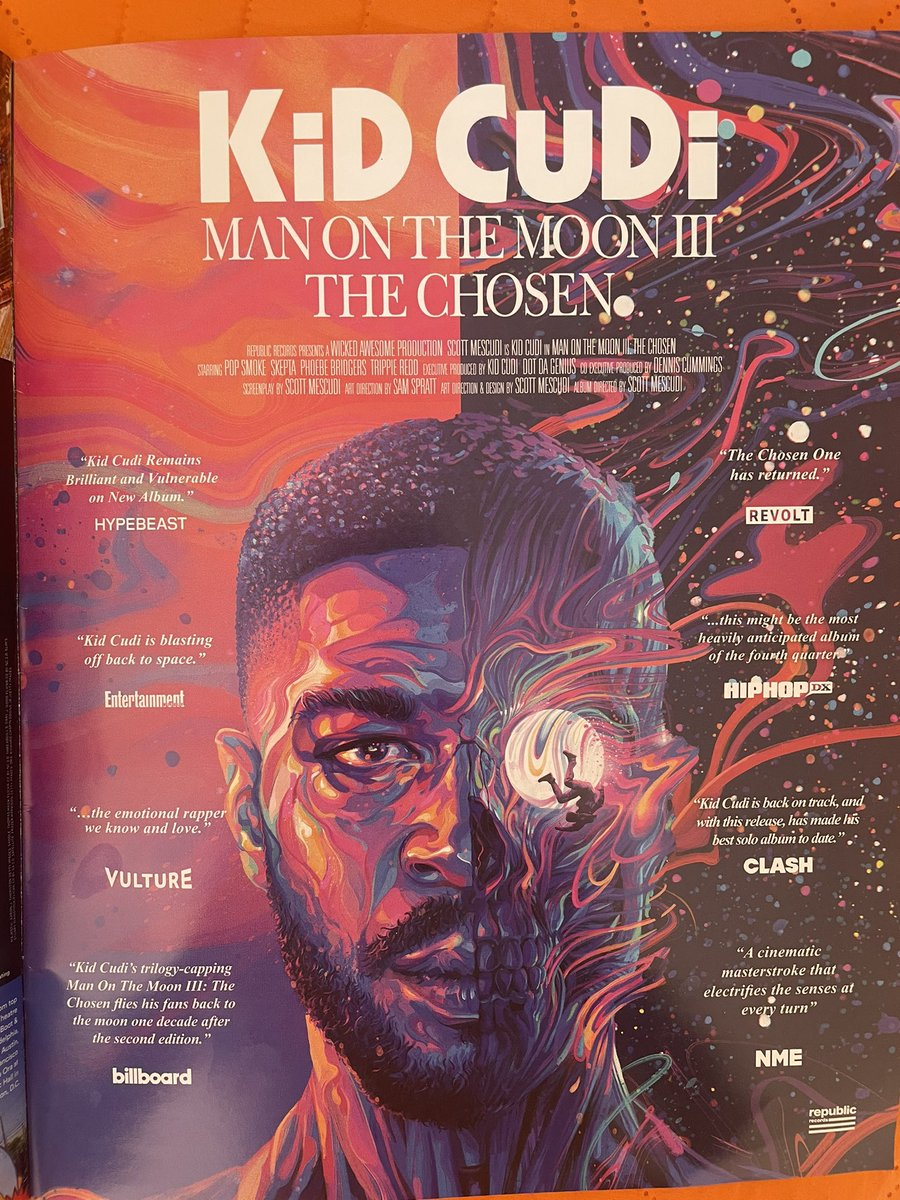 been listening to the @KidCudi album nonstop lately and saw an ad for it in the magazine copy I got today only to realize I wrote the billboard blurb about it 😅