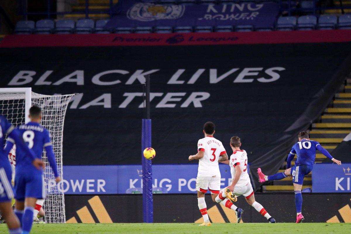 HALF-TIME Leicester 1-0 Southampton  James Maddison's strike separates the two sides at the break  #LEISOU