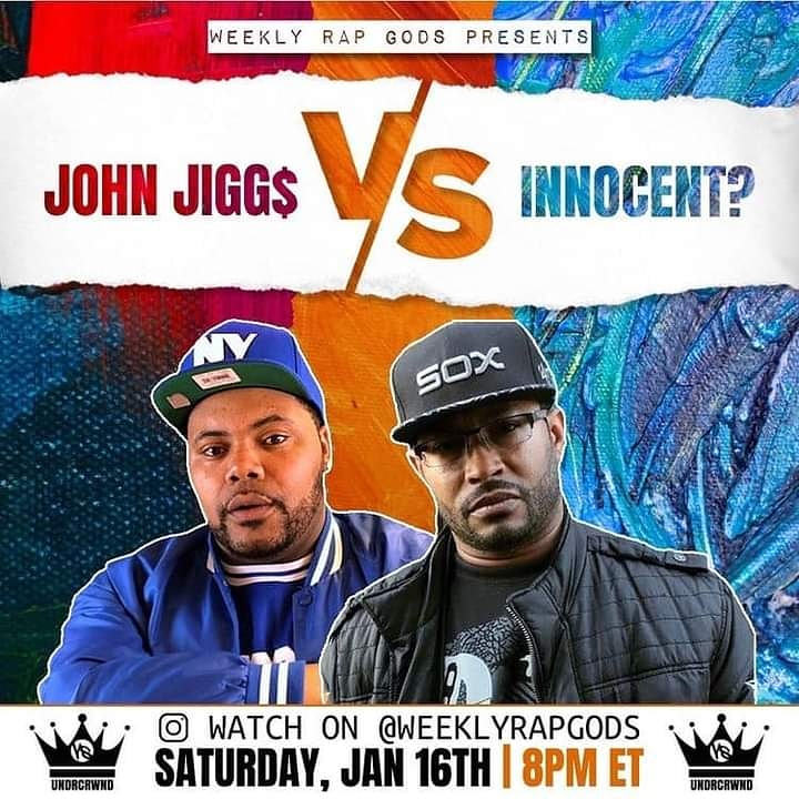 Tonight 8p ‼️ @undrcrwnd 👑a #Verzuz for the underground hip hop culture ! 10 songs ea. In a head to head competition  John Jiggs @john_jiggs Vs. @innocentflow13 🔥🔥 Watch 👉🏾 Weekly Rap Gods IG LIVE 8pm