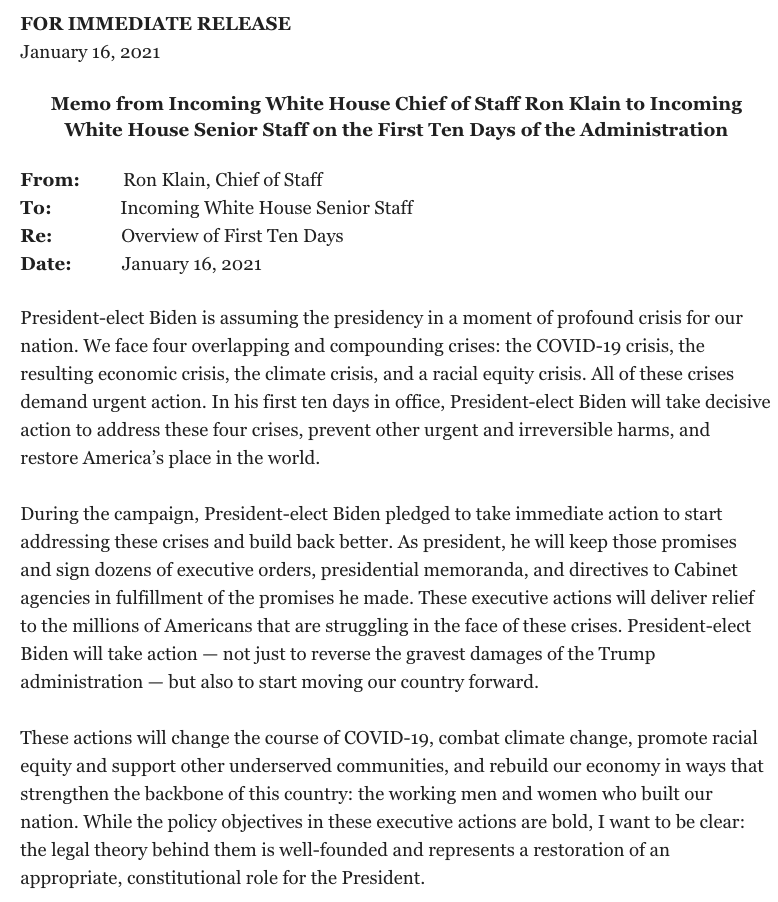 NEW: Incoming WH Chief of Staff @RonaldKlain outlines Biden administration's first 10 days  Rejoining Paris Climate Accord, ending Muslim ban, extending pause on student loan payments, instituting mask mandate on federal property + raft of COVID-related orders among priorities