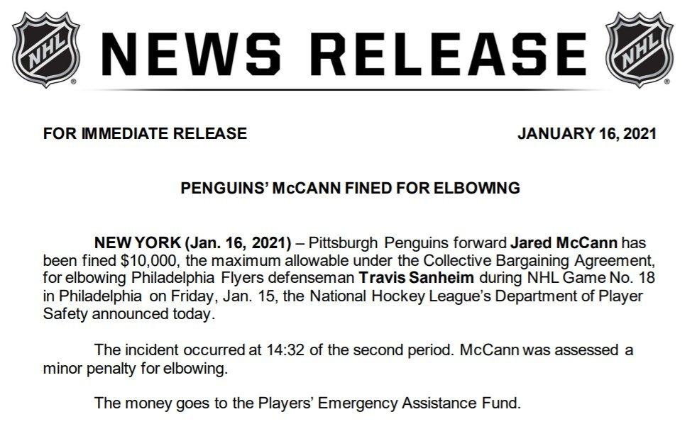 Press release re: fine