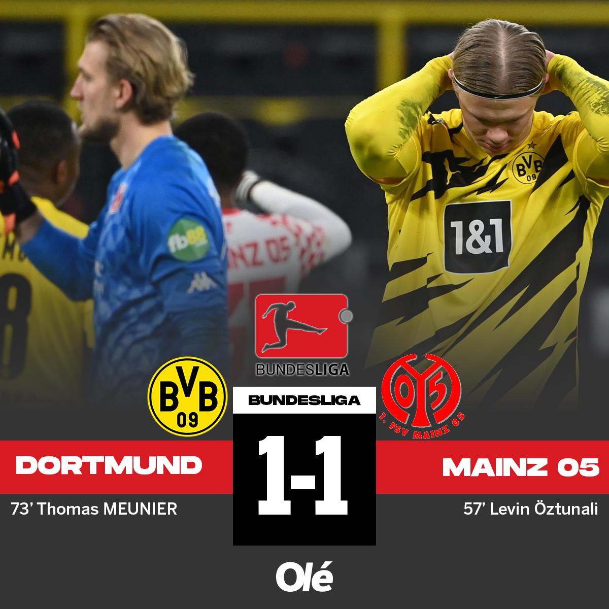 🇩🇪 Además, empataron Borussia Dortmund (vs. Mainz 05) y RB Leipzig (vs. Wolfsburgo). 🔝 Escenario ideal para el Bayern Munich, único líder, que este domingo recibe al Friburgo y puede estirar la ventaja. https://t.co/jbZKArsQyu