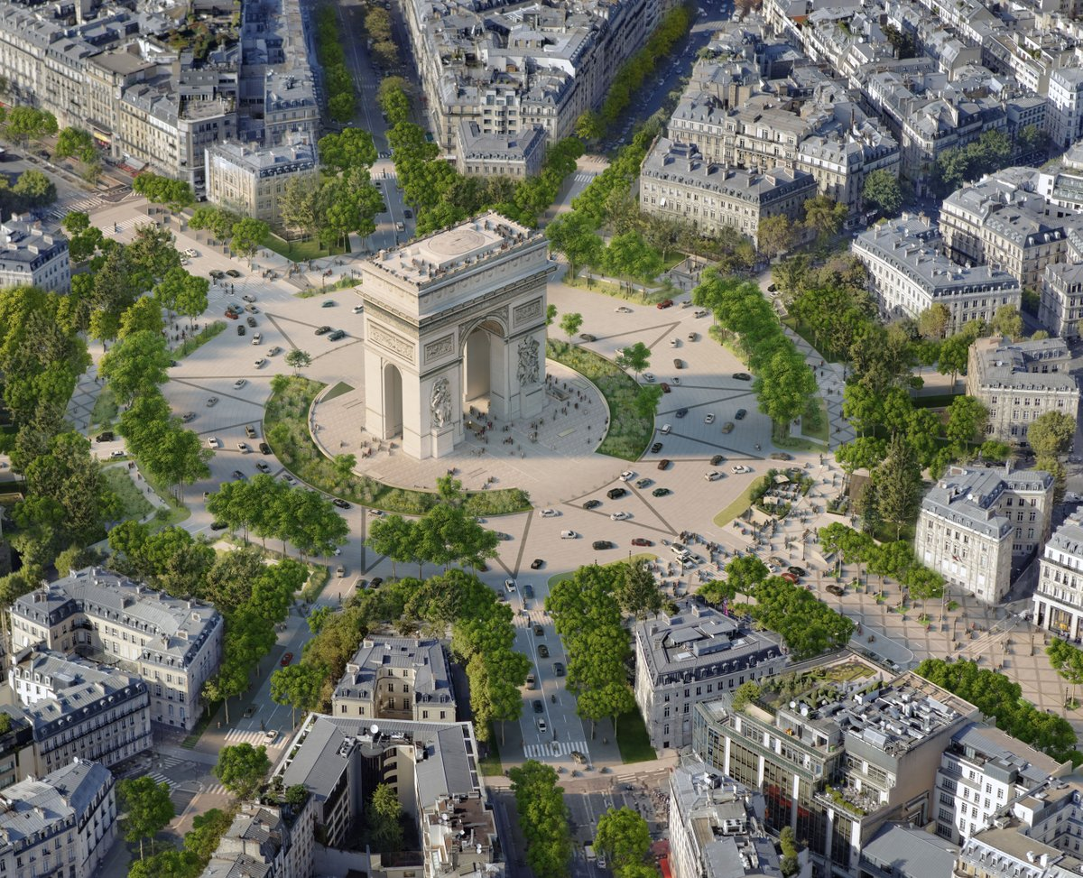 One of the most beautiful streets in🇫🇷is getting a new look 🤩. By 2030, the city of @Paris with design team @PcaStream plans to transform the @AvChampsElysees into a greenspace 🌱 with a reduction of traffic & extensive planting. 🔎Read more:  📸PCA-STREAM