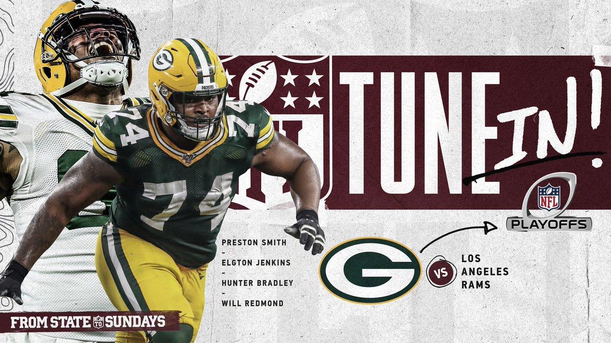 🗣 The #NFLPlayoffs are back!  Catch @Big_E_14, @BlazingWill_, @PrestonSmith94 & @HunterB_53 at 3:35 p.m. on @NFLonFOX.  #HailState🐶 | #FromStateToSundays