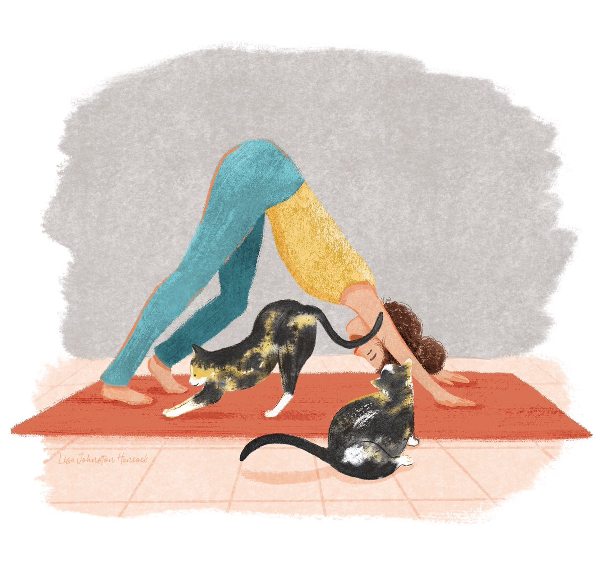 Happy Caturday! This is how I do yoga if I try doing it inside. Does anyone else have awesome yoga mates like this? 😻 #illustration #caturday #drawing #womenwhodraw #yogaillustration #instaartwork