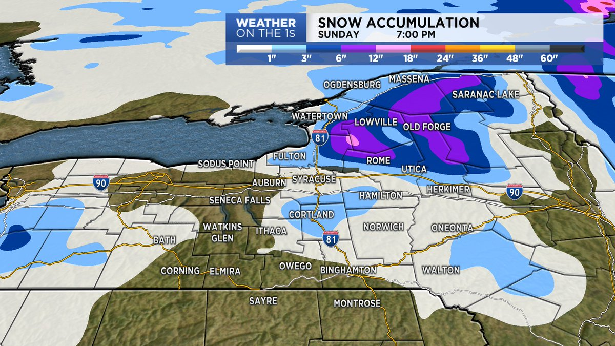 """Additional snow accumulations through Sunday evening will of course be greatest on the Tug Hill (6-12""""+) with some other spots in the North Country picking up 6""""+.  A general trace to two or three inches is possible across the rest of #CNY and into parts of the #SouthernTier."""