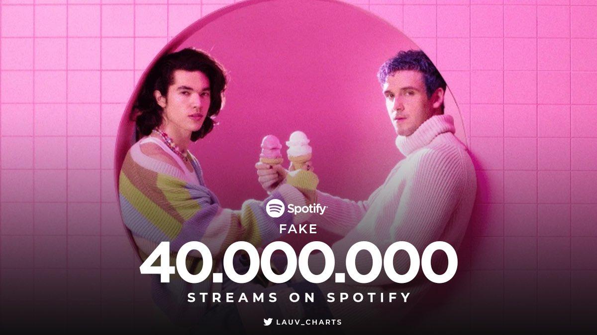 📲| Fake cuenta con 40 millones de reproducciones en Spotify.  🔗:   ©@lauv_charts  16.01.21