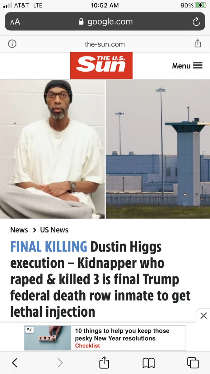 """@LilianaSegura """"news"""" site US Sun has had a false headline up for hours saying that #DustinHiggs raped the three victims. To justify execution?"""