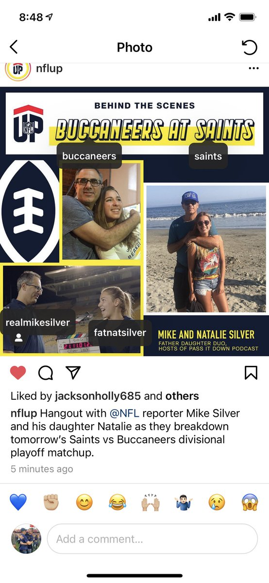 Announcement: Tomorrow @fatnatsilver & I will take over the @NFLUpOfficial Instagram account before and during @Saints-@Buccaneers. We're pumped. Follow us on Insta at @realmikesilver @fatnatsilver @nflup