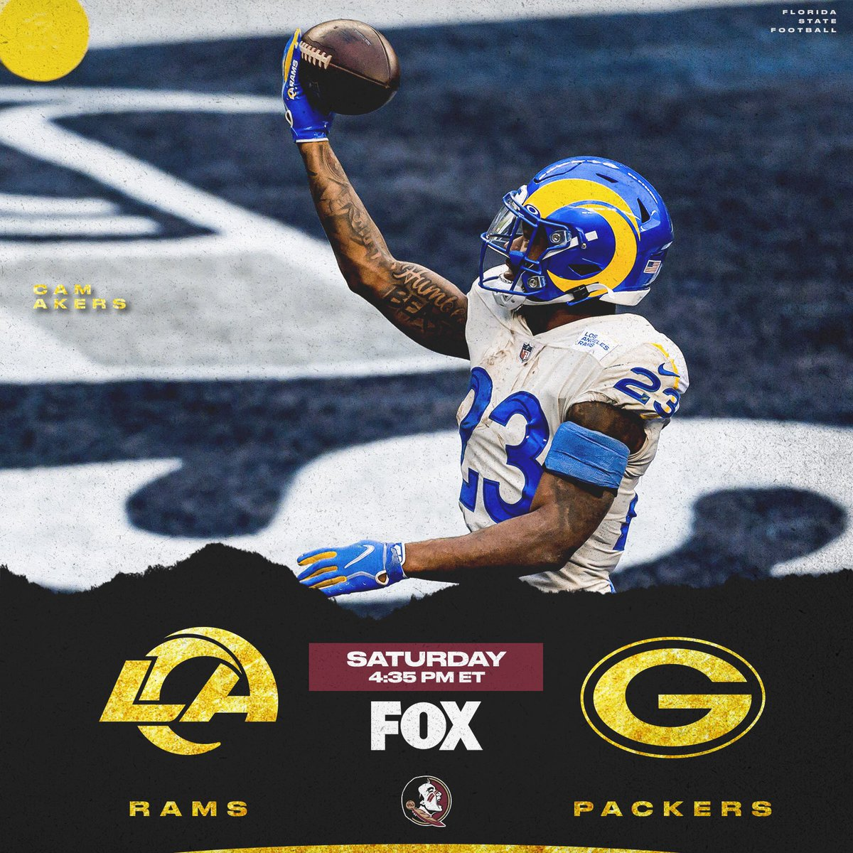 First #NFLDivisional game features @jalenramsey, @thereal_cam3 and the @RamsNFL taking on Stanford Samuels III's @packers   #NoleFamily  📺: #LARvsGB | 4:35pm on FOX 📱: NFL app // Yahoo Sports app