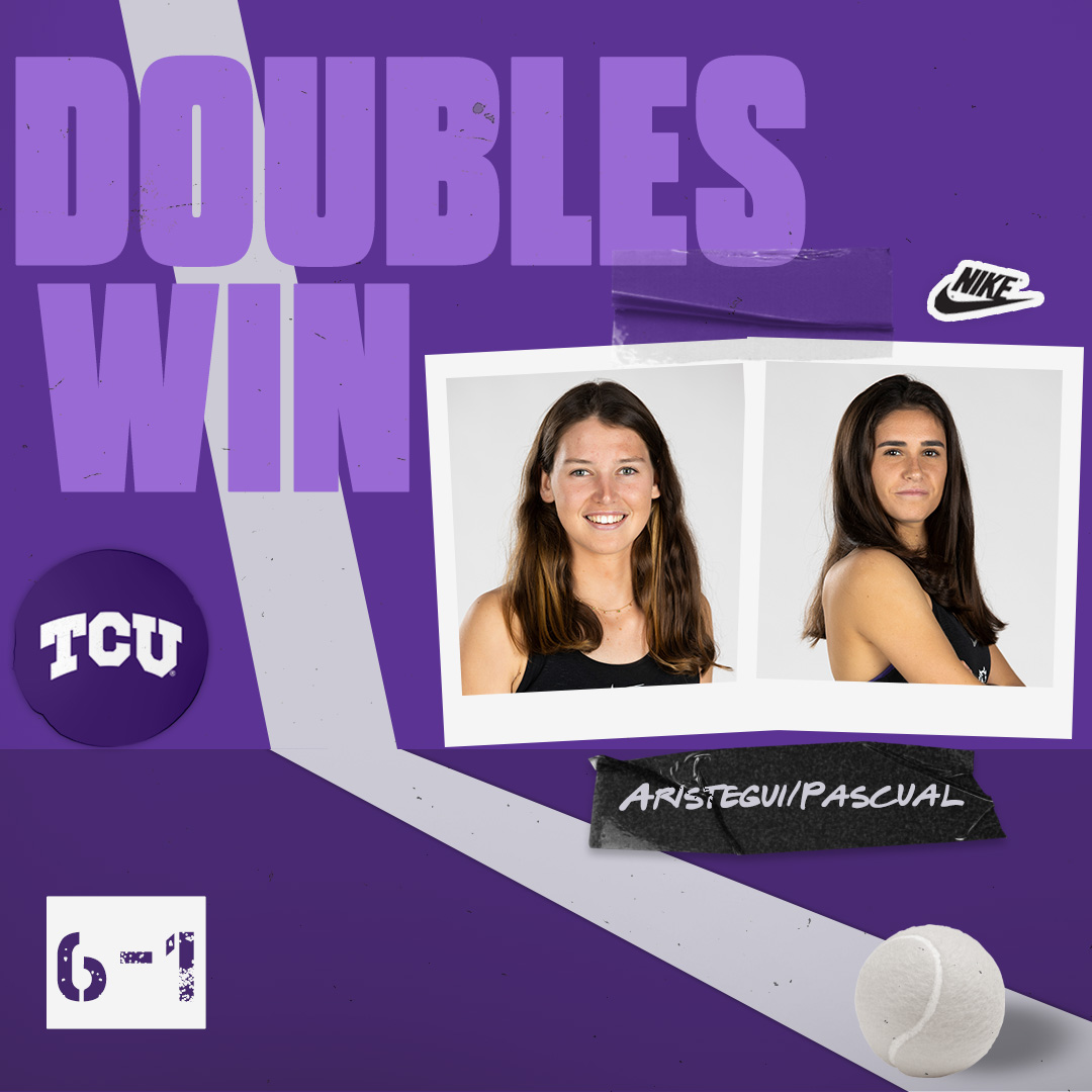 Isa and Mercedes collect the win at No. 1 doubles!  Schroeder/Kennedy ⬆️ 5-3 Norris/Guevara ⬆️ 5-3  #BuildBelief x #GoFrogs🐸🎾🇪🇸 https://t.co/ZRvZfI67Tb