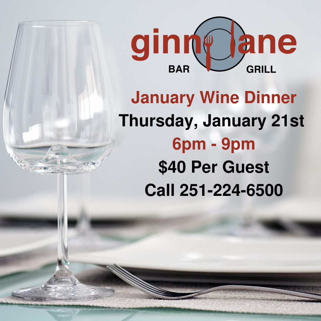 This #Thursday is our first #WineDinner of the year! 🍷🍽  Plan to join us!  Four Courses, Four Wine Pairings makes for one delicious evening!  📲2️⃣5️⃣1️⃣-2️⃣2️⃣4️⃣-6️⃣5️⃣0️⃣0️⃣ for reservations  #GinnyLaneBarGrill #Wharf #OrangeBeach #JanuaryWineDinner #Thursdaynight #January21 #WineNot