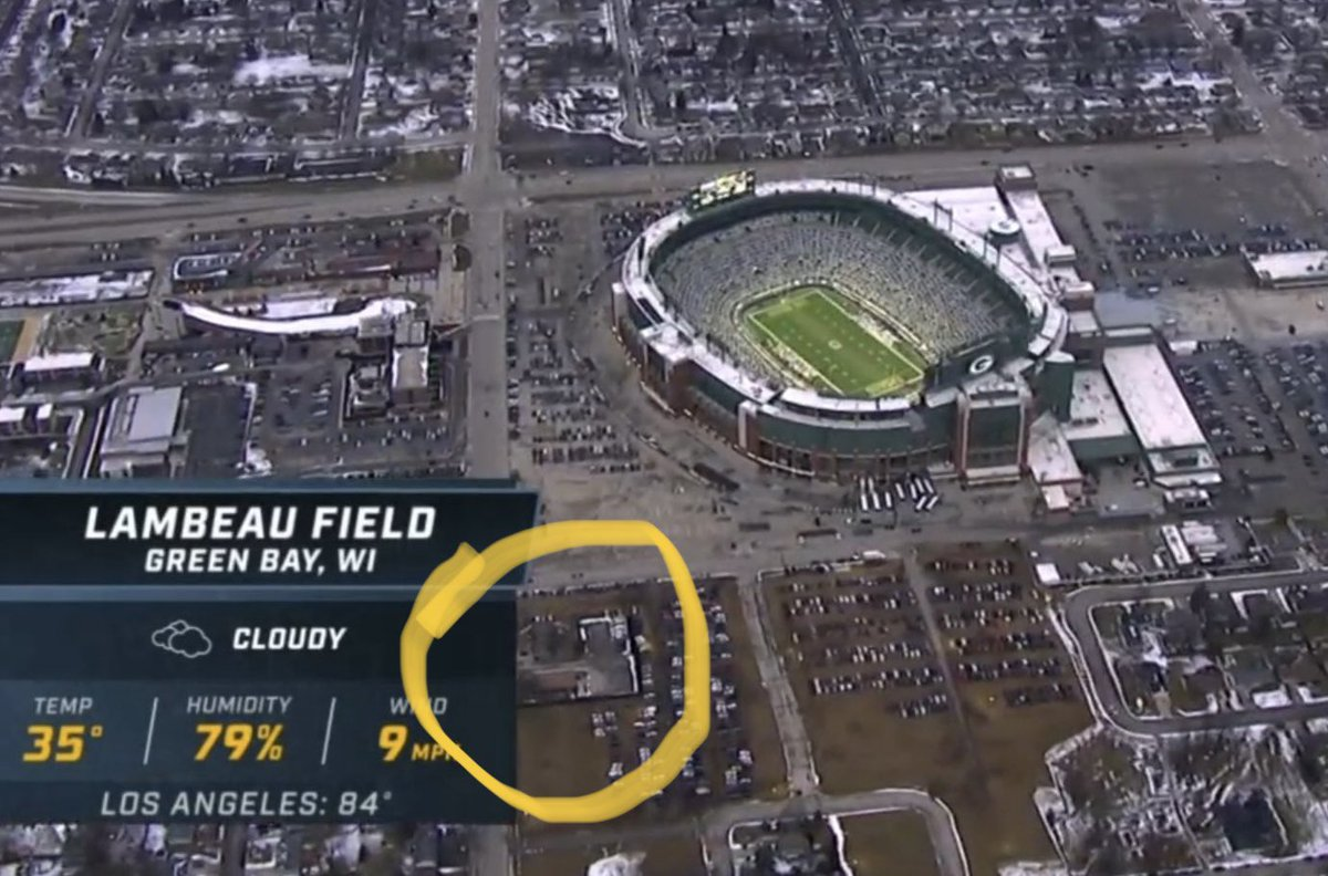 Wish I was in that yellow circle today. That's our tailgate spot. Church parking lot. Sun, rain, snow, day or night it's the best! #GoPackGo