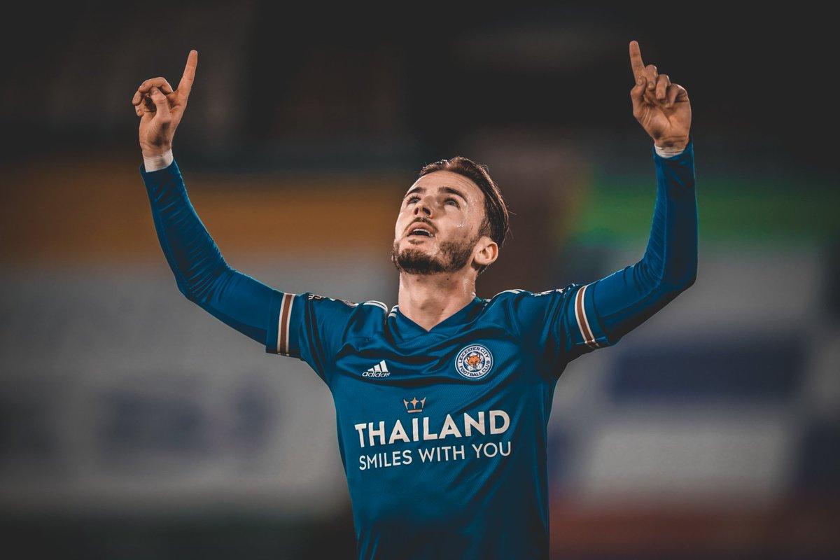 James Maddison (24|🏴) vive un gran momento con la camiseta del Leicester City:  •🅰️ vs. Sheffield United •⚽️⚽️ vs. Brighton •❌ vs. Everton •❌ vs. Tottenham •🅰️ vs. Manchester United •⚽️ vs. Newcastle •⚽️ vs. Southampton  📍El