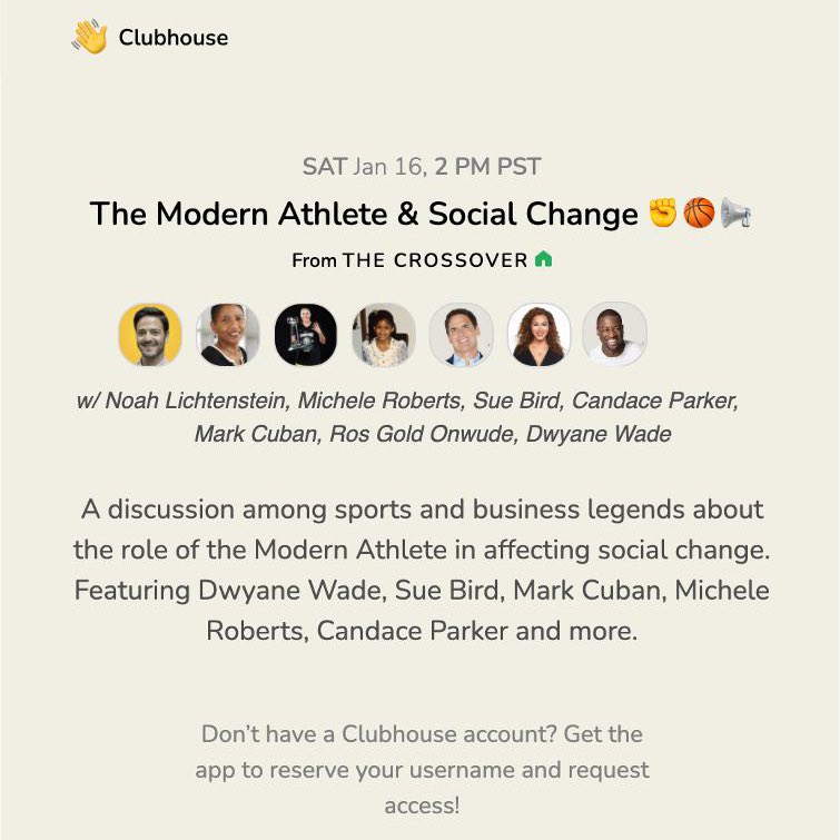 """Join me, @DwyaneWade, Sue Bird @S10Bird ,@Candace_Parker , Mark Cuban @mcuban, Michele Roberts @MRobertsNBPA & @noah_l right now on Clubhouse at 2PT/ 5ET for a discussion on """"The Modern Athlete & Social Change""""! ✊🏽🗣🏀 👉🏽"""