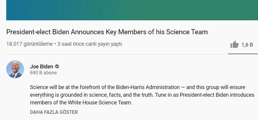 Biden 3 saat önce YouTube üzerinden bir canlı etkinlik yaptı. Sadece 18 bin kişi izledi. Bu kişi Obama'dan fazla oy aldı...