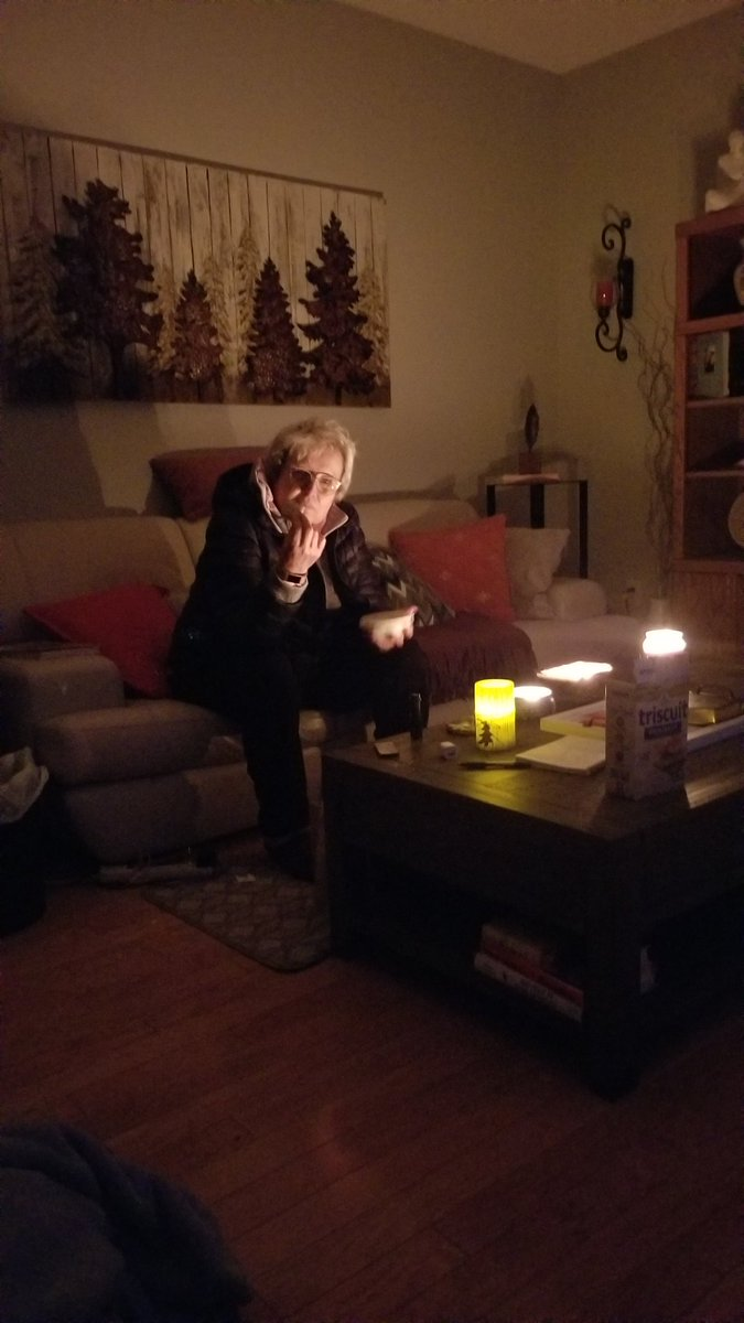 Yesterday's power outage. Hot chocolate from water heater up outside on a camp stove and crackers. Nice ambiance, tho! And great company of course! https://t.co/1o9Y8qsFWq