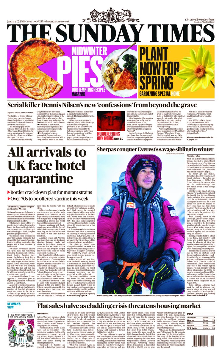 All international arrivals to UK face hotel quarantine, The Sunday Times reports. Plus exclusive report and extracts from the new autobiography of the serial killer Dennis Nilsen #TomorrowsPaperToday