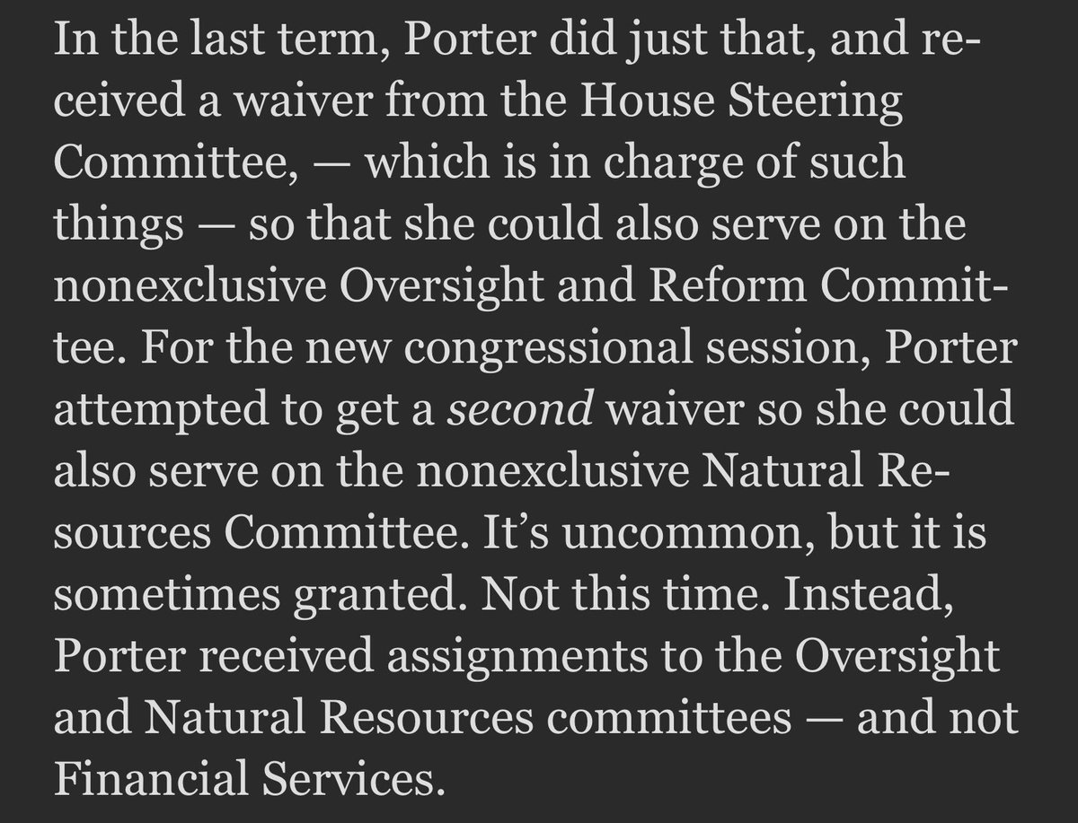 To be clear, Porter was already serving on Oversight thx to a waiver. Then applied for a second waiver for Natural Resources.  She got #2 and #3 but lost #1. She should be on all three - she's Katie Porter for godsake.
