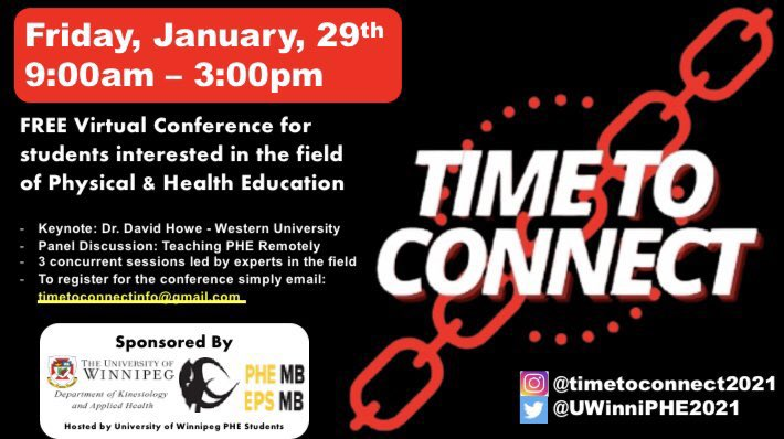 UPDATE: We have extended our deadline to register until Wednesday January 20th! #timetoconnect #phemanitoba #phecanada