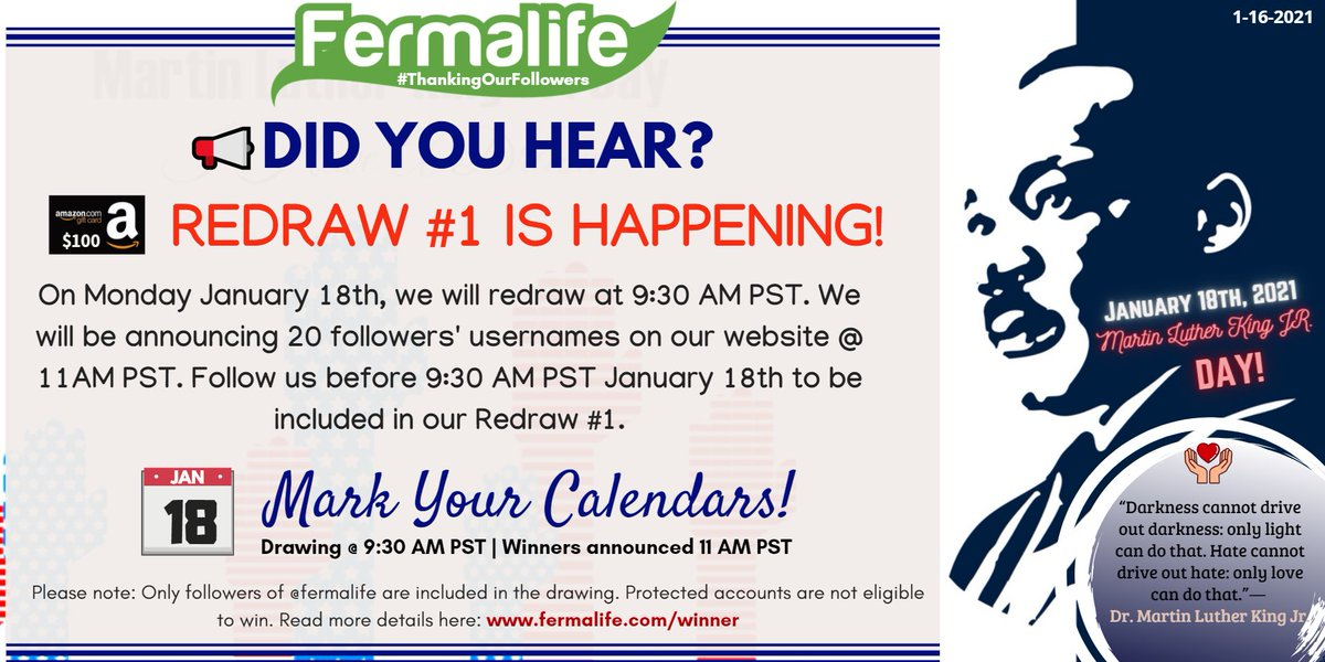 ✨A redraw for January's #ThankingOurFollowers drawing happening! 💰We will draw 20 usernames at 9:30PM PST and the first 11 of the 20 listed on our website at 11AM PST to send us a DM will win a $100 #AmazonGiftCard! Stay tuned: 🔔