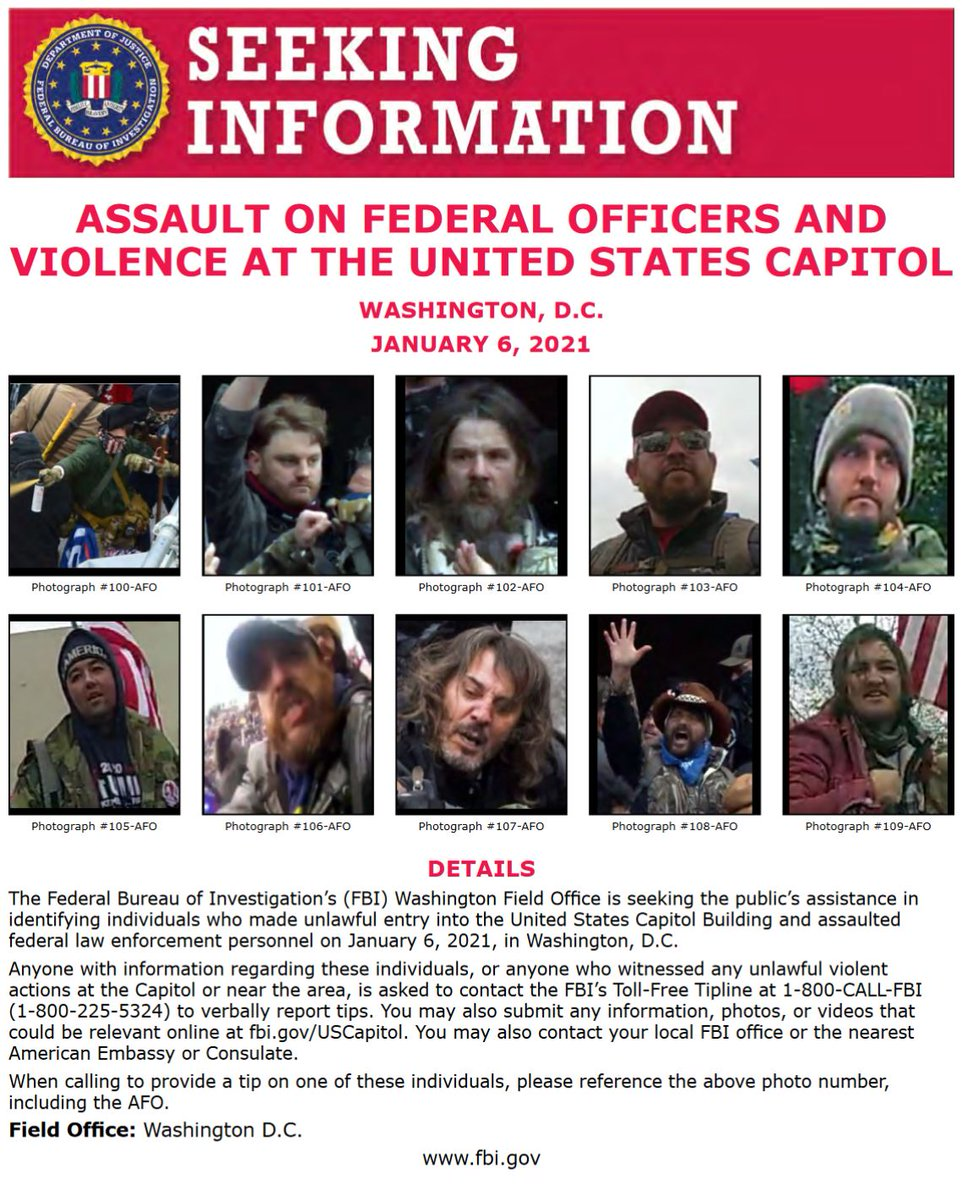 NEW: #FBIWFO is seeking public's help in identifying those who made unlawful entry into US Capitol & assaulted federal law enforcement on Jan 6. If you have info, report it to the #FBI at 1-800-CALL-FBI or submit photos/videos https://t.co/NNj84wkNJP. https://t.co/A7J7zj9fXV https://t.co/7IXRpQRsBi