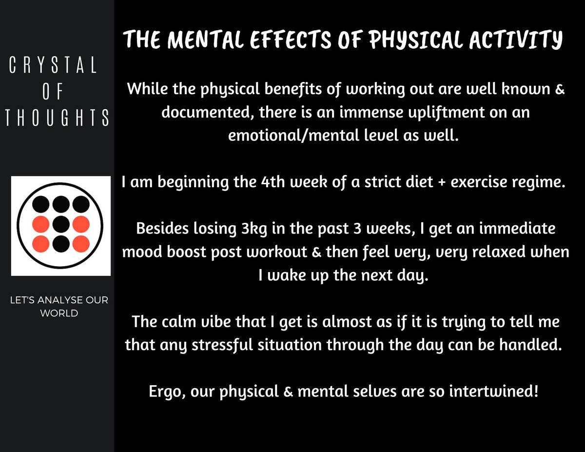 Mental effects of physical activity!👇  #WritingCommunity #blog  #fitness #fitnessmotivation #fitnessjourney #workout #workoutmotivation #workoutroutine #exercise #exercisemotivation #diet #dietplan #healthyfood #healthy #healthyeating #healthychoices #healthyliving #healthylife https://t.co/JszlWwDVe2