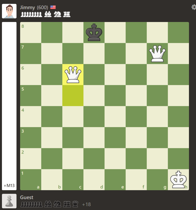 I am learning how to play chess!  i think i won??? idk but any chess experts can confirm lol  i'm pretty sure the king can't move  (it is against the computer with assisted moves as i'm just starting out)