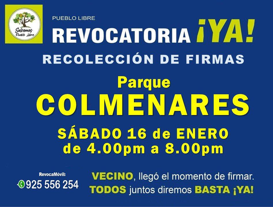 Nos encontramos en Parque Colmenares para la recolección de firmas   #NuncaTeRindas  #RevocatoriaYa  #SalvemosPuebloLibre