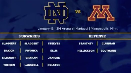 #Blackhawks prospect Landon Slaggert promoted to first line for Notre Dame's second game against top-ranked Minnesota.  Slaggert had a goal and assisted on the GWG in yesterday's upset