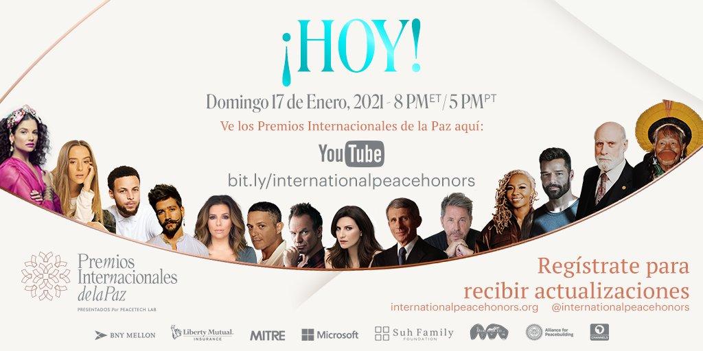 ¡HOY es el gran día! 🎉🎊 No se pierdan los @premioslntdlpaz HOY a las 8 pm (ET) / 5 pm (PT). Enlace para ver el evento:  #PremiosInternacionalesdelaPaz #PeaceTechLab #PIP #PTL #Techforgood