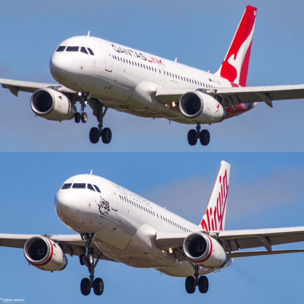 📸17 Sep 20 🔲 Arriving within 2 mins of each other, QantasLink and Virgin Regional using slightly different approach profiles for #runway 06 #Perth. #landing #touchdown #aviation #avgeek #thisisaviation #planecrazy #world #perthisok #airbus #a320 #planes #planespotting #closeup