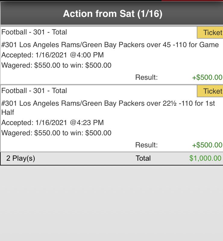 Another 3-0 SWEEP tonight! 🧹🧹🧹  *Rams/Packers Over 45 ✅ 2x  *Rams/Packers 1H Over 22.5✅ +15u 💰  We're on a 10-0 W streak and haven't lost this week.🔥  -May have some more plays tomorrow. Stay tuned.   #NFL #NFLPlayoffs  #GoPackGo  #RamsHouse  #GamblingTwitter  #KATOtrades