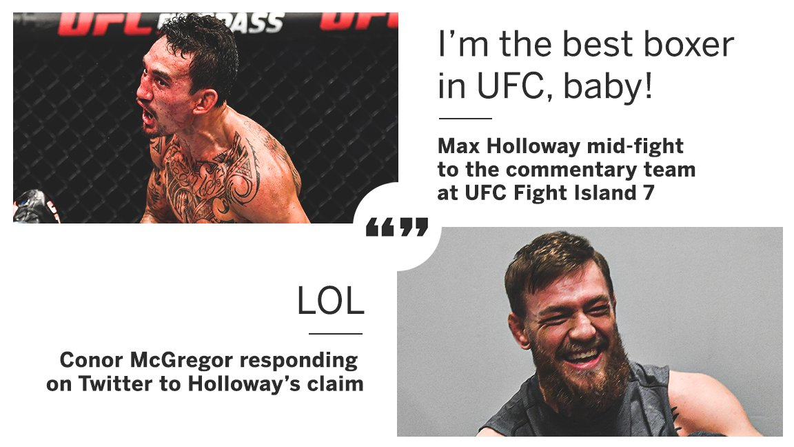 Conor McGregor had something to say about Max Holloway claiming to be UFC's best boxer 👀  (via @TheNotoriousMMA) https://t.co/ZmuBSto6N9